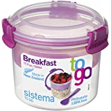 Sistema To Go Compact Breakfast Storage Container, 530 ml - Clear/Pink