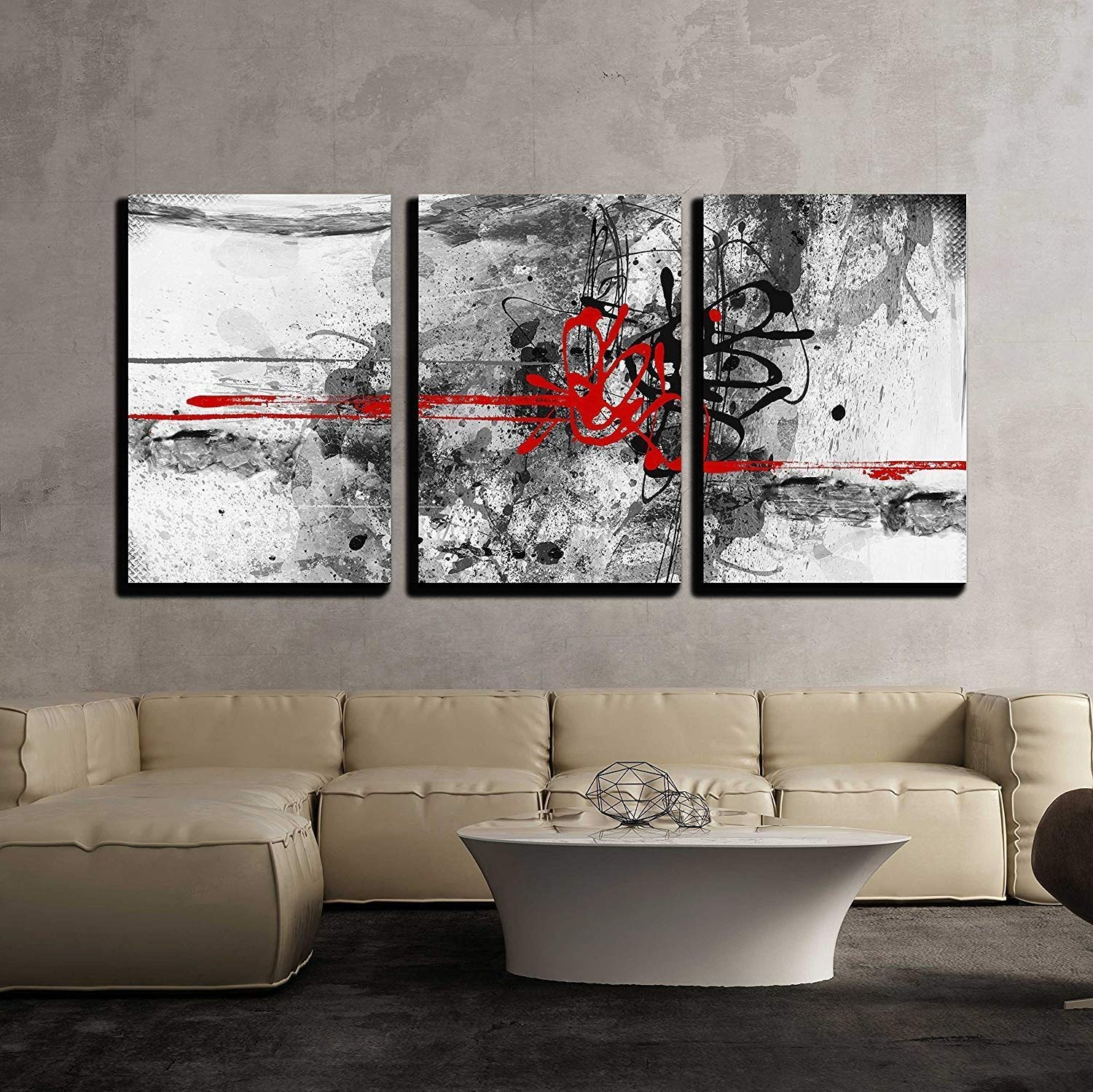 wall26 - 3 Piece Canvas Wall Art - Highly Detailed Grunge Abstract Textured Collage with Space for Your Text - Modern Home Decor Stretched and Framed Ready to Hang - 24''x36''x3 Panels
