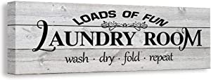Kleach Laundry Room Decor, Vintage Laundry Sign, Canvas Wall Art, Rustic Laundry Room Framed Decoration Gift(White)