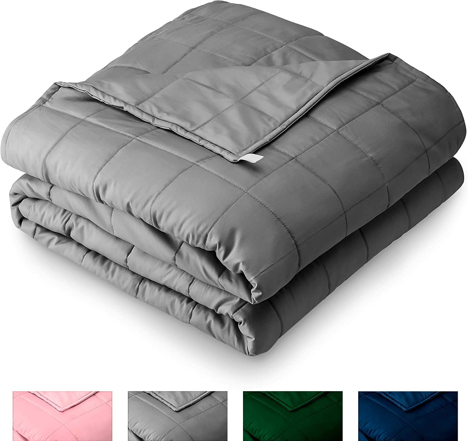 "Bare Home Weighted Blanket for Adults and Kids 17lb (60"" x 80"") - All-Natural 100% Cotton - Premium Heavy Blanket Nontoxic Glass Beads (Grey, 60""x80"")"