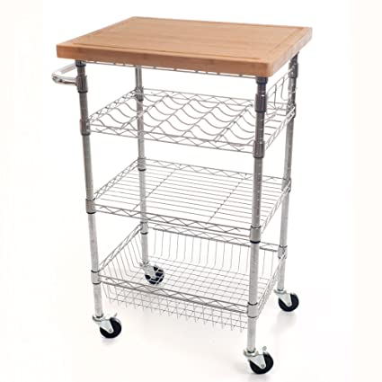 Amazing Lavish Home Chrome Wine Dining Cart With Butcher Block Bamboo Top
