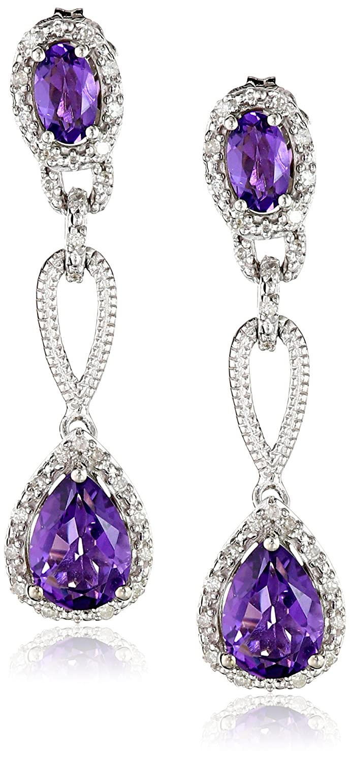 Sterling Silver Amethyst Pear Shape and Diamond Drop Earrings (1/10cttw, I-J Color, I2-I3 Clarity)