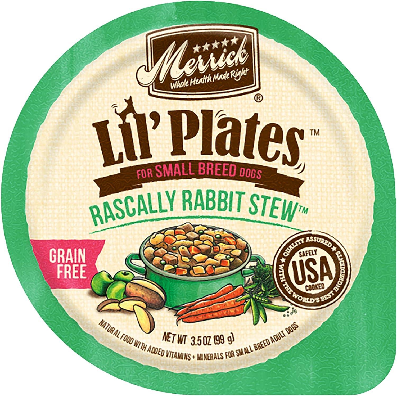 Merrick Lil' Plates Grain Free Small Breed Wet Dog Food Rascally Rabbit Stew - (12) 3.5 oz Tubs