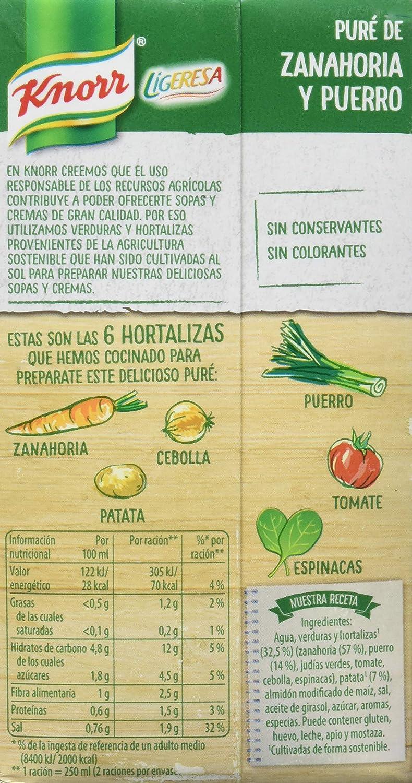 Knorr Ligeresa Puré de Zanahoria y Puerro - 500 ml: Amazon.es: Amazon Pantry
