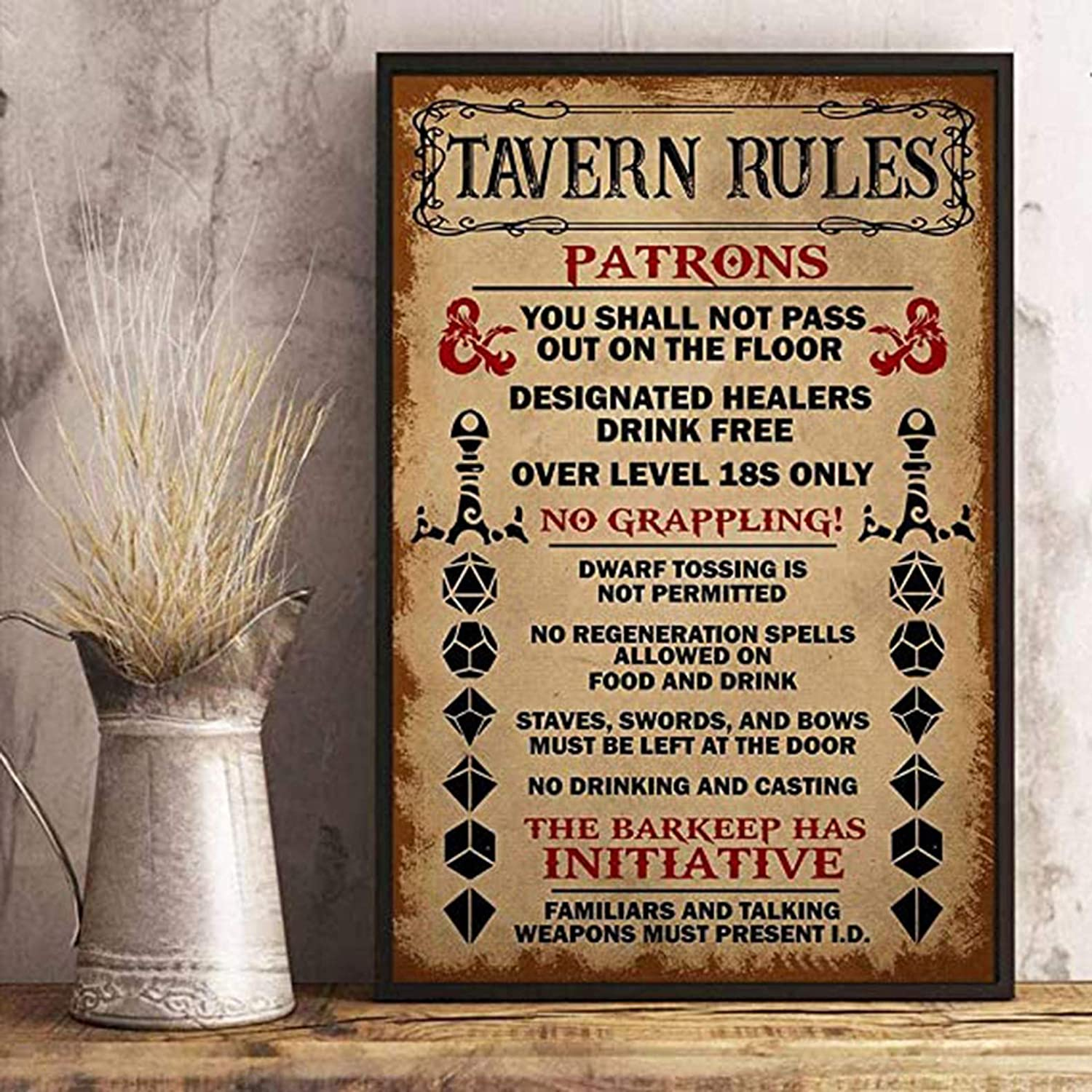 Amazon Com Tavern Rules Patrons Poster Dungeon Rpg Dnd Tabletop Dragons Dice Games Gaming Poster Living Home Decor Poster 11x17 Posters Prints