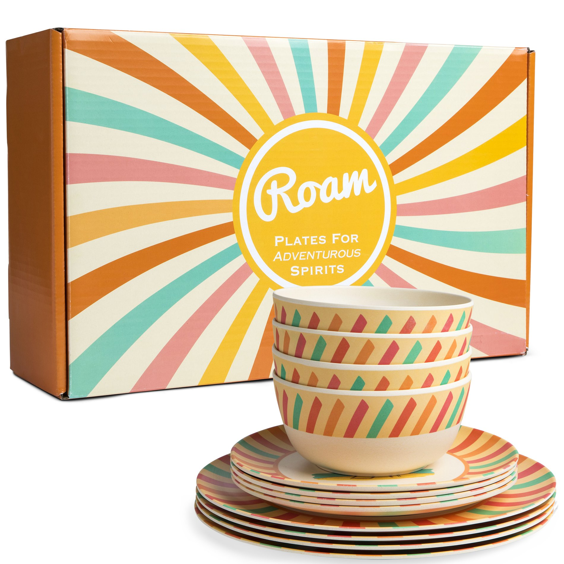 Bamboo Dinnerware Set - Camping, Kids and Family Reusable Dishes - 4 Small Plates, 4 Bowls, 4 Large Plates - Durable, Lightweight, Eco-Friendly, Non-Toxic - Casual, Retro Dishware, 12 Piece Sets by Roam (Image #2)
