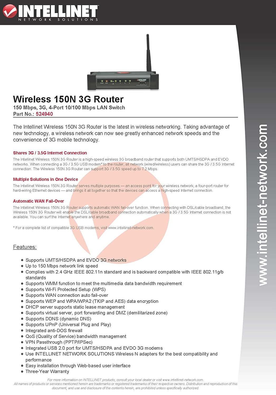 Intellinet Wireless Up To 150 Mbps Network Link Speed 3g Diagram Router 524940 Electronics