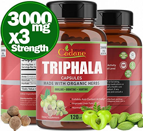 Organic India Triphala Capsules 3000mg, Supports Weight Loss, Improving Digestion, Detoxification, Cleansing Non-GMO Vegan Plus Digest Tone Herbs and Supplements, 120 Caps