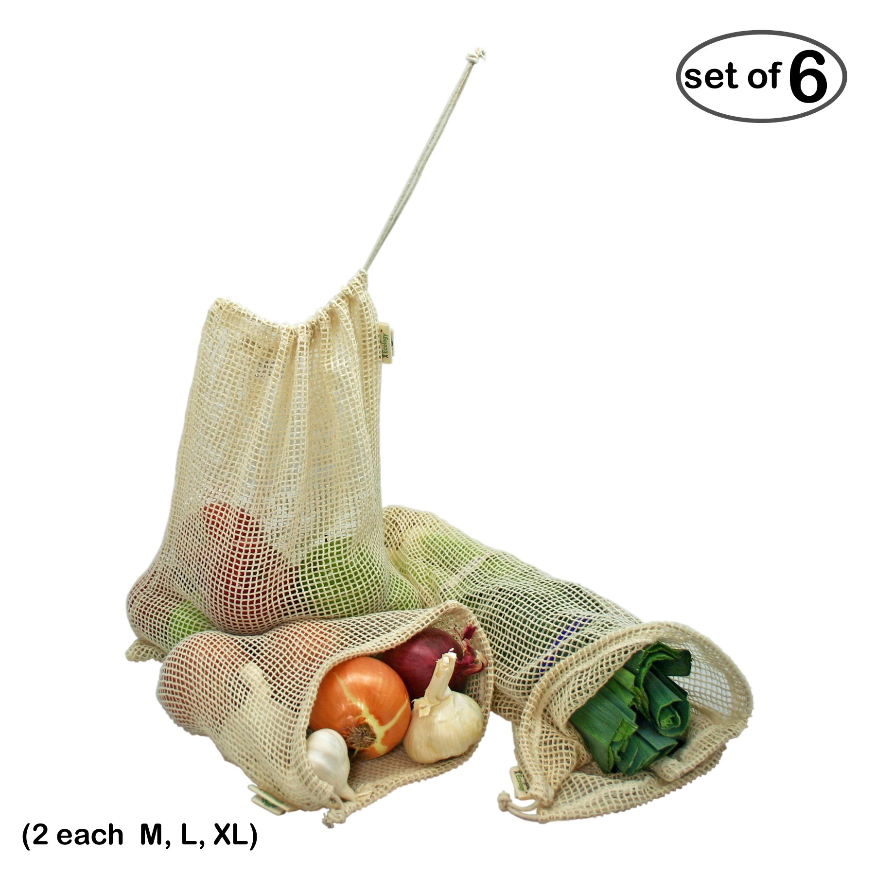 Simple Ecology Reusable Organic Cotton Mesh Grocery Shopping Produce Bags-Set of 6(2ea of M,L,XL)