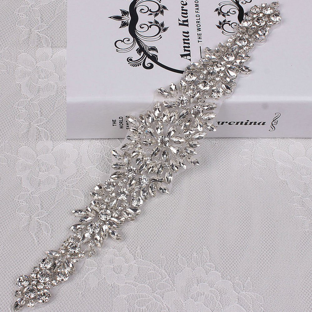 Renashed Gorgeous Rhinestone Applique Crystal Pearl Applique For Bridal Sash Wedding Belt (L11.4 W2.2)