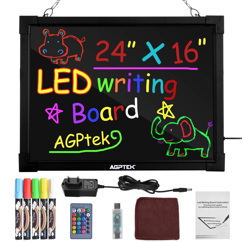 con Telecomando Vetrine /& Promozioni Lavagna LED AGPtek 24/×16 Eventi Lavagna Illuminata Cancellabile per Scrivere o Disegnare Ottima per Feste