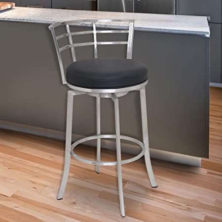 Armen Living LCVI30BABLK Viper 30 Bar Height Swivel Barstool in Black Faux Leather and Brushed Stainless Steel Finish