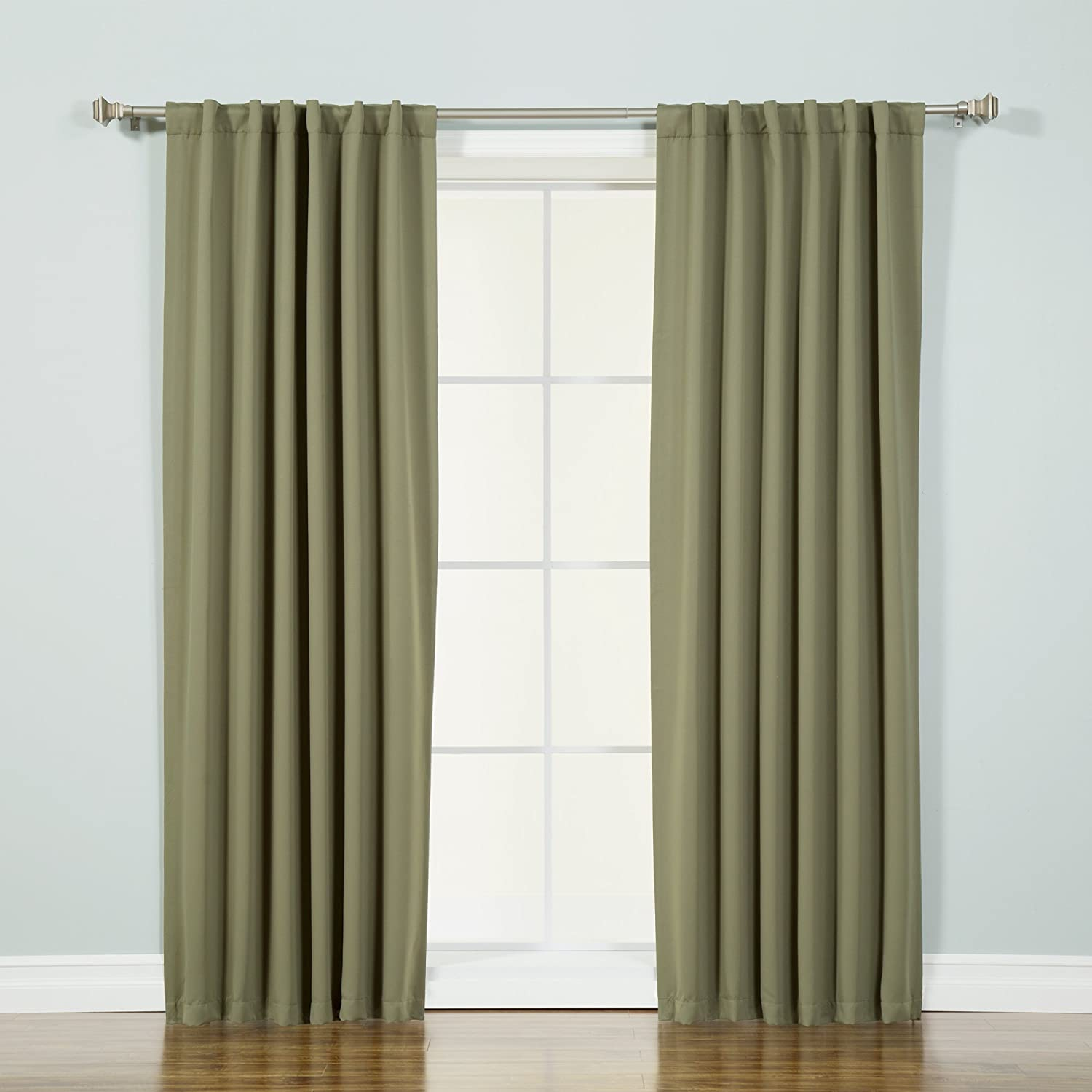 "Best Home Fashion Premium Thermal Insulated Blackout Curtains - Back Tab/Rod Pocket - Olive - 52"" W x 72"" L - (Set of 2 Panels)"