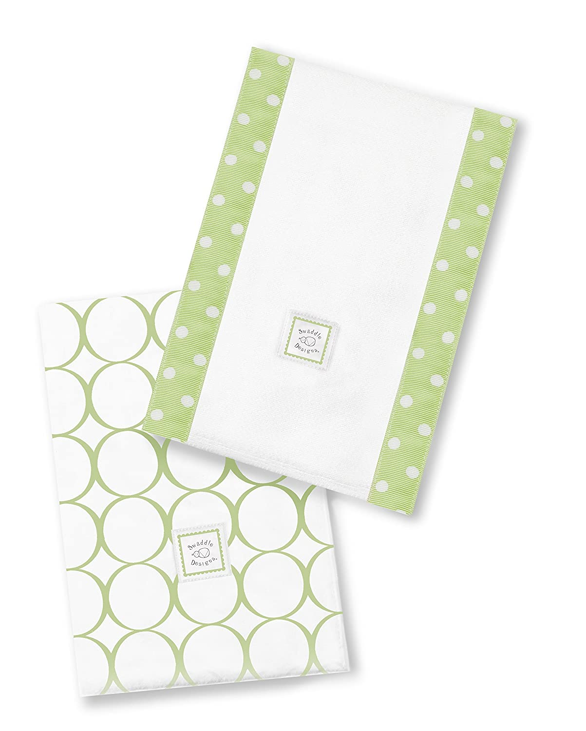 SwaddleDesigns Baby Burpies, Pure Green Mod Circles (Set of 2 Burp Cloths) SD-401PG