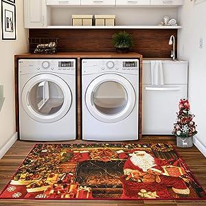 Christmas Area Rug, Santa Welcome Front Door Mats Indoor Outdoor Non Slip Doormat, Xmas Holiday Decor Carpet for Living Room Bedroom Bath Kitchen Entrance, 3x5 Feet