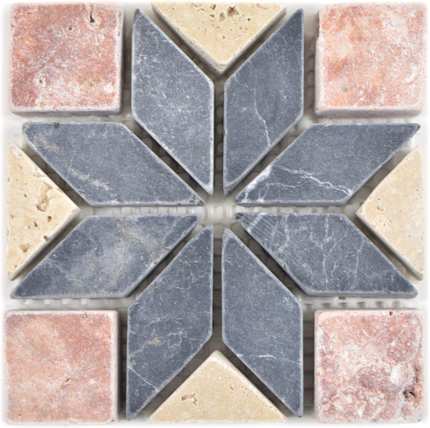 Naturstein D/écoration de salle de bain Motif mosa/ïque Noir//beige