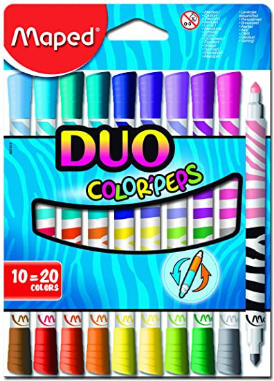 Maped Duo Color Peps Washable Felt Tip Marker Set - Pack of 10 (Multicolor) Coloured Pencils at amazon