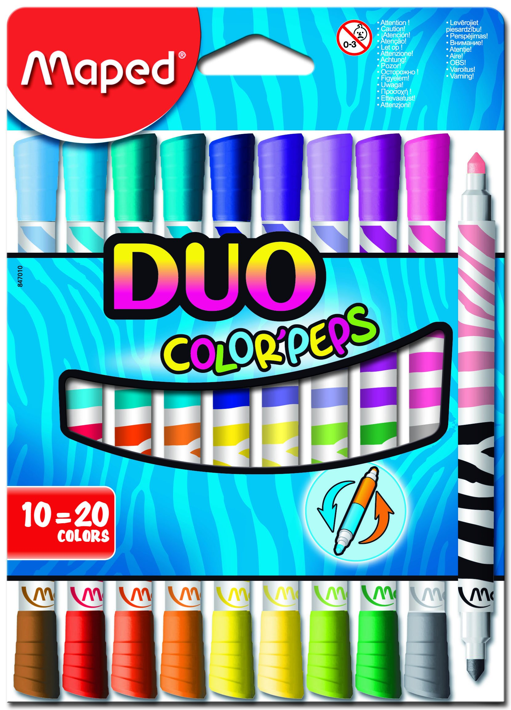 Maped Color'Peps DUO Tip Ultrawashable Markers, Assorted...