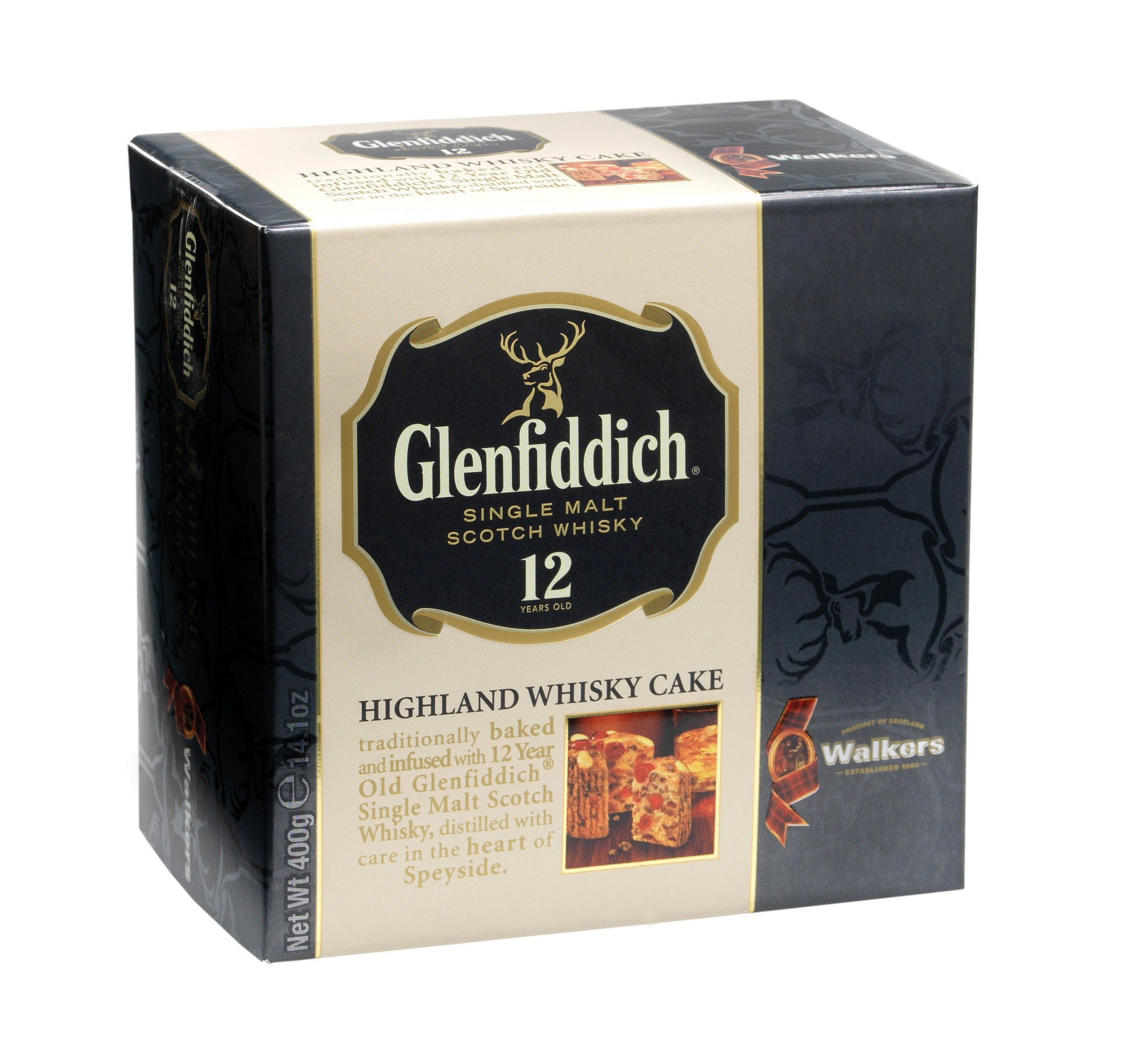 Walkers Shortbread Glenfiddich Highland Whisky Cake, 14.1 Ounce Box Traditional Scottish Fruit Cake with Glenfiddich