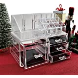 Clear Acrylic Cosmetics Makeup Jewelry Organizer 4 Drawers with 16 Compartments Top Section - WE PAY YOUR SALES TAX (idea for Christmas Birthday gift )