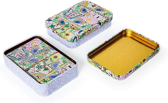 PracticDomus Set de 2 Barajas de Cartas de Póker en Estuche Metálico, Diseño de Giordano di Ponzano. Colección Mosaico: Amazon.es: Juguetes y juegos