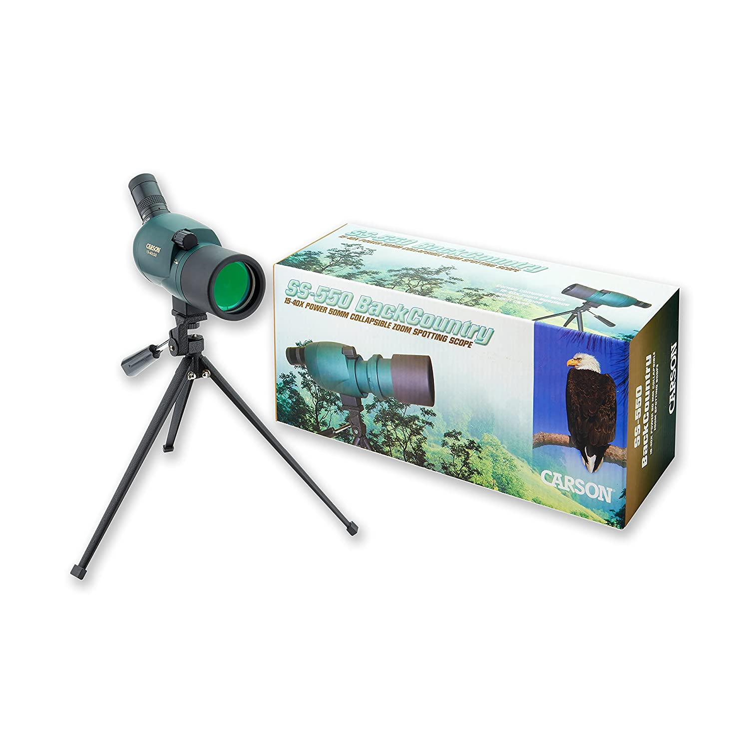 Amazon.com : Carson 15-40x 50mm BackCountry Zoom Spotting Scope (SS-550) :  Sports & Outdoors