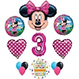Minnie Mouse 3rd Birthday Party Supplies And Pink Bow 13 Pc Balloon Decorations