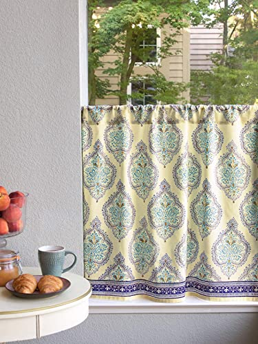 Saffron Marigold Morning Dew Yellow and Blue French Countryside Inspired Hand Printed Sheer Cotton Voile Kitchen Curtain Panel Rod Pocket 46 x 36