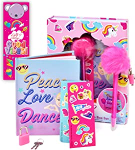 Gift Boutique JoJo Siwa Coloring and Activity Set, Diary Journal Art Kit with Lock and Key, Drawing Sketch Pad Notebook, Pen, Craft Stickers Bookmark for Girls Boys and Kids