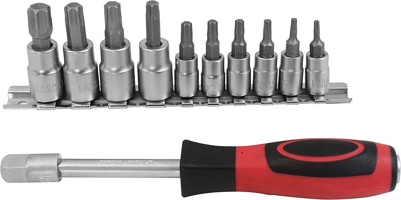 Black//Red Set of 12 Piece DEKTON DT85152 Drive Bits Socket Set 1//4-inch,3//8-inch
