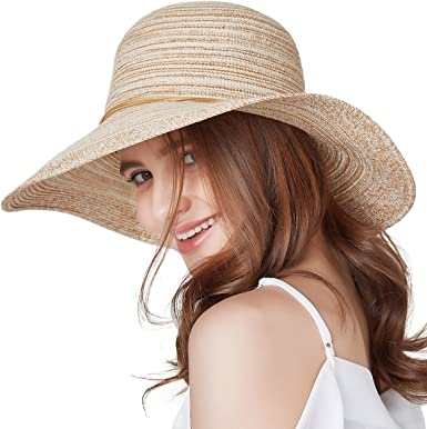 Ladies Womens Packable Straw Trilby Summer Sun Hat Light Weight