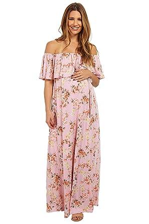 e409f3faf9b2 PinkBlush Maternity Light Pink Floral Off Shoulder Sash Tie Maternity Maxi  Dres