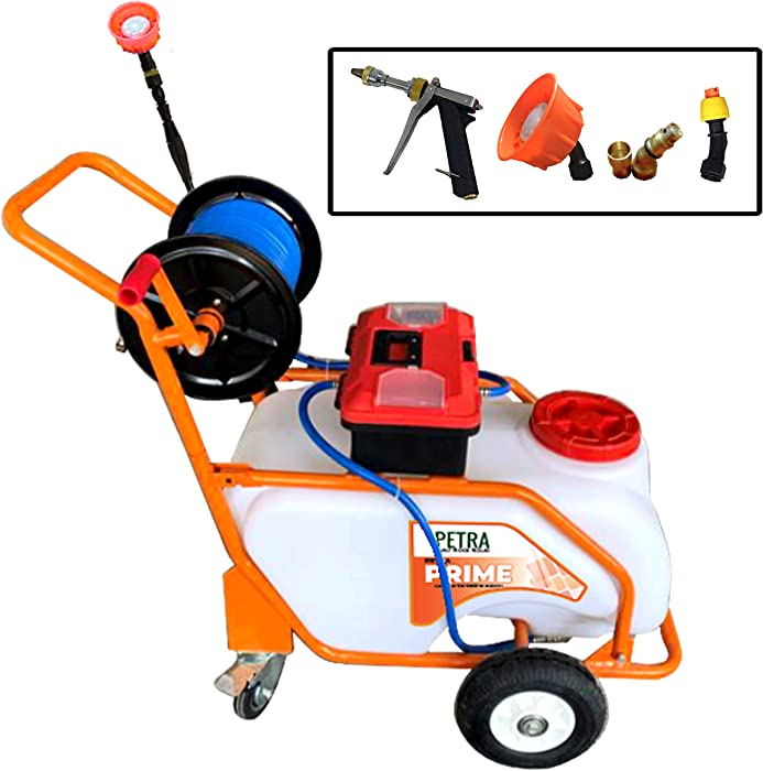 Petra PetraTools Battery Powered 13 Gallon Pushcart Sprayer Prime, Heavy Duty Commercial Sprayer with Custom Built Cart, Off-Road Wheels & Solid Steel Easy-Turn Hose Reel for 100 Foot Hose, 80PSI