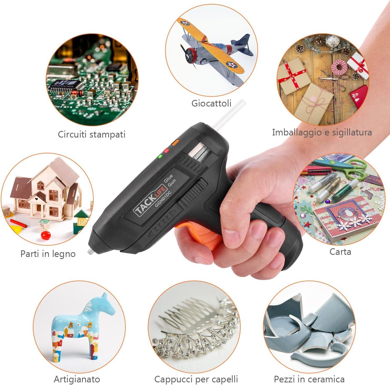 Tacklife Pistola para pegamento caliente de 3.6/V bater/ía de litio 2000/mAh recargable con cable USB indicador luminoso de trabajo es un Must para los fans del Fai Da Te Incluye 50/cargas