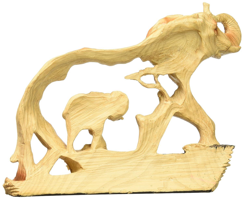StealStreet SS-UG-MMD-189, 6.5 Inch Elephant in The Wild Woodlike Bust Scene Carving Figurine