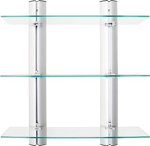 Danya B HA83163 Bathroom Shelving Unit Decorative Wall-Mount 3-Tier Adjustable Glass Wall Shelves on Aluminum Bars Bathroom Shelf, Wall Mount Shelf