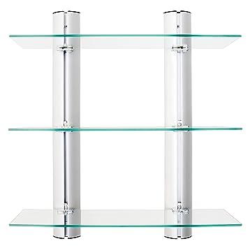 Danya B. Ha83163 Bathroom Shelving Unit – Decorative Wall Mount 3 Tier Adjustable Glass Wall Shelves On Aluminum Bars by Danya B