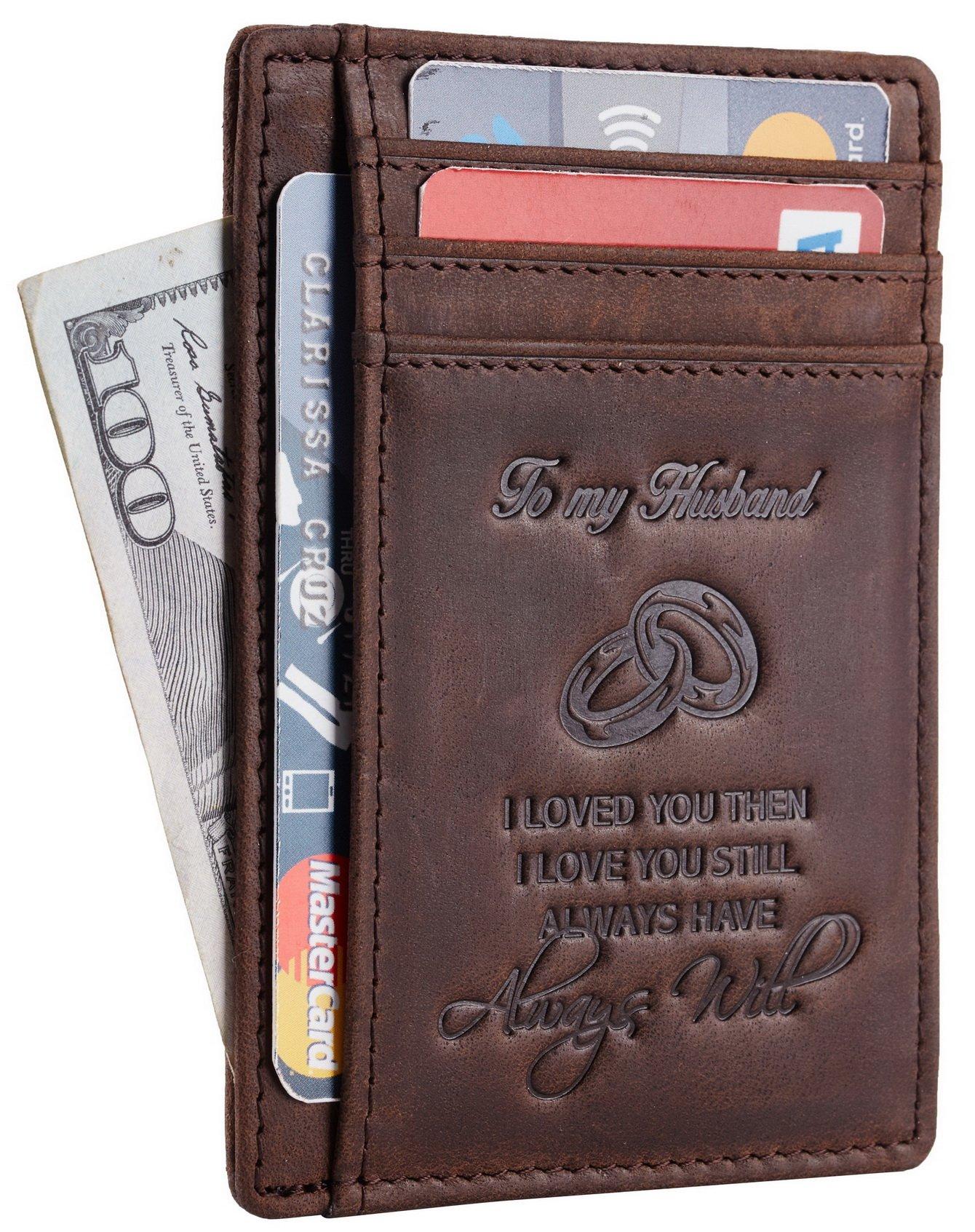 NapaWalli Wife To Husband Gift Best Anniversary Birthday Gifts For Him Genuine Leather RFID Blocking slim Wallet Card Holder (Hunter Coffee)