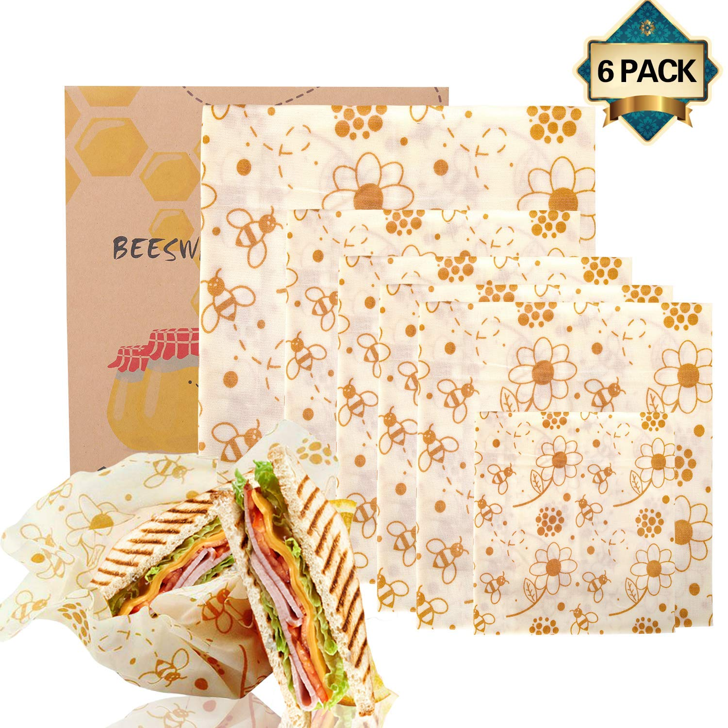 6 Pack Beeswax Wrap Reusable Food Wraps, Sustainable Plastic Free Food Storage, Eco Friendly Food Wraps - 1 Small, 4 Medium, 1 Large by Zmoon