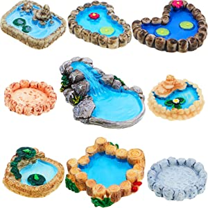 Jetec 9 Pieces Fairy Garden Miniature Pond Ornaments Kit for Fairy Garden Decoration, Miniature Garden Accessories, Miniature Fairy Houses and Figurines Garden Decoration