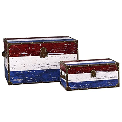 Superb Household Essentials Decorative Storage Trunk, Red, White And Blue, Jumbo  And Medium,