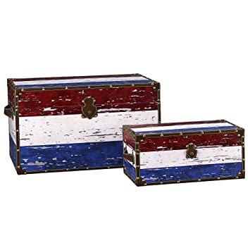 Household Essentials Decorative Storage Trunk, Red, White And Blue, Jumbo  And Medium,