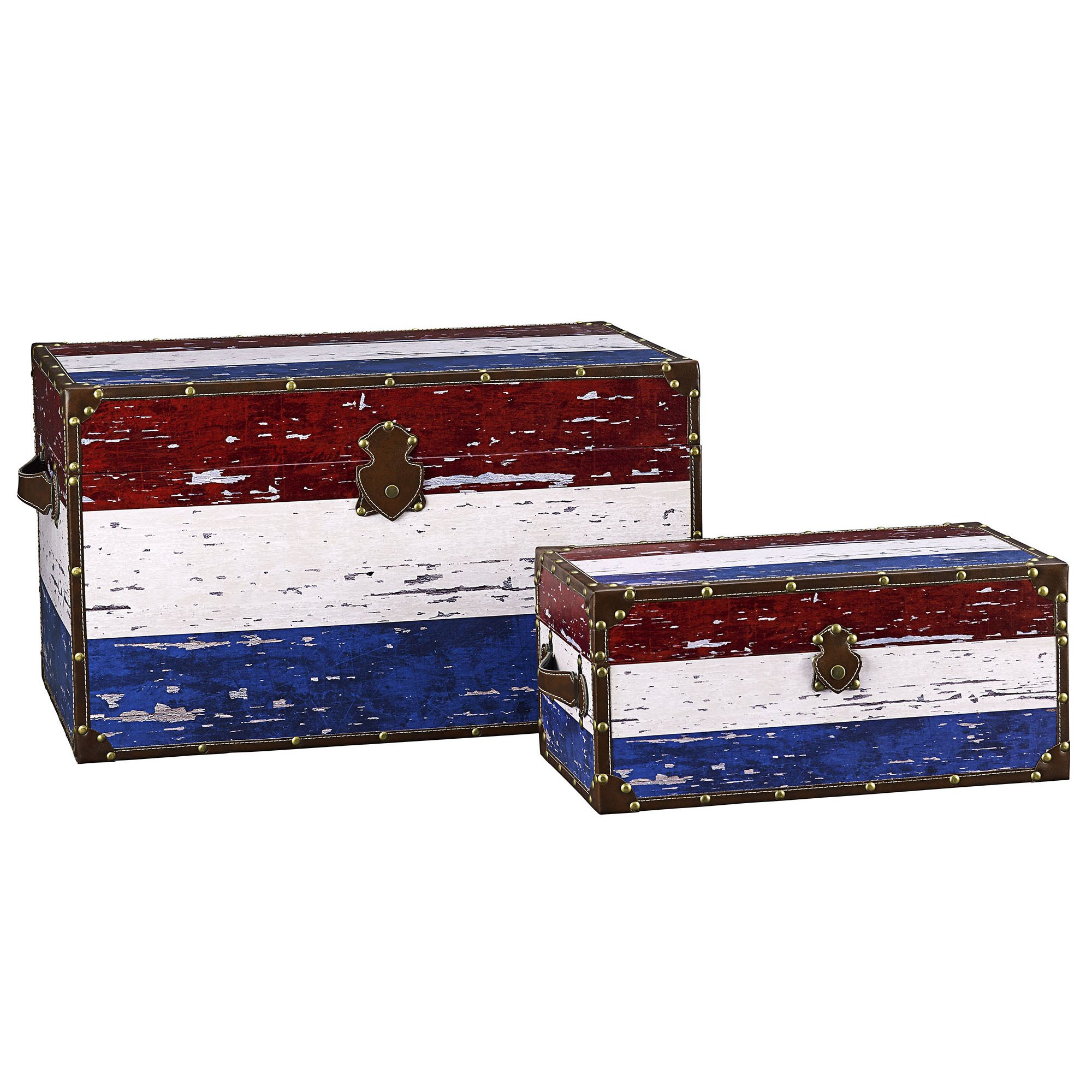 Household Essentials Decorative Storage Trunk, Red, White and Blue, Jumbo and Medium, Set of 2