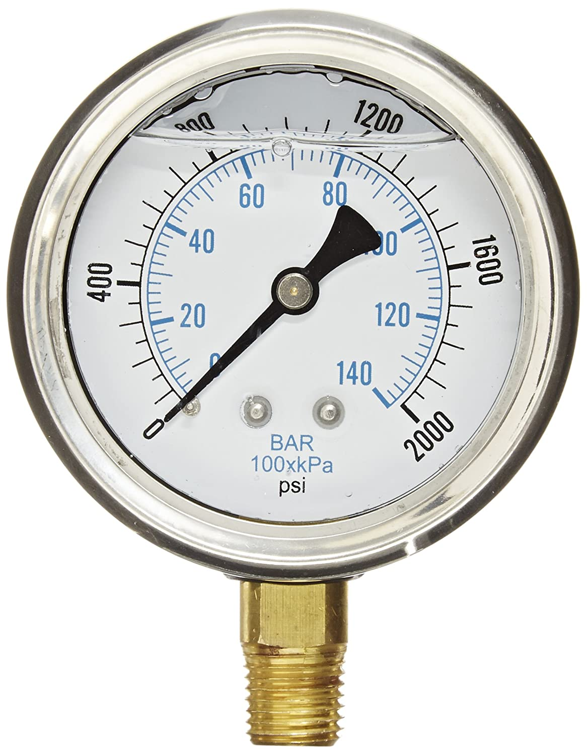 PIC Gauge PRO 201L 254O Glycerin Filled Industrial Bottom Mount Pressure Gauge with Stainless Steel Case Brass Internals Plastic Lens 2 1 2 Dial Size 1 4 Male NPT 0 2000 psi
