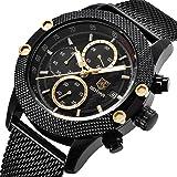 Reloj de Pulsera analógico de Cuarzo con Correa de Acero Inoxidable para Hombre Reloj cronógrafo…
