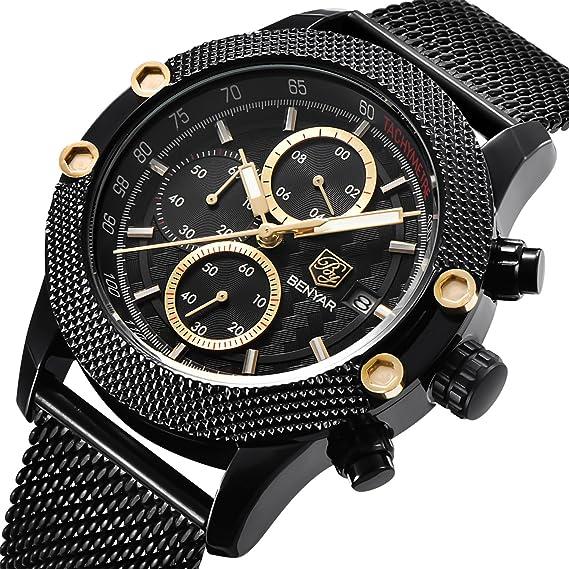 Reloj de pulsera con mecanismo de cuarzo y cronógrafo, resistente al agua, con correa de malla de acero, para hombre: Amazon.es: Relojes