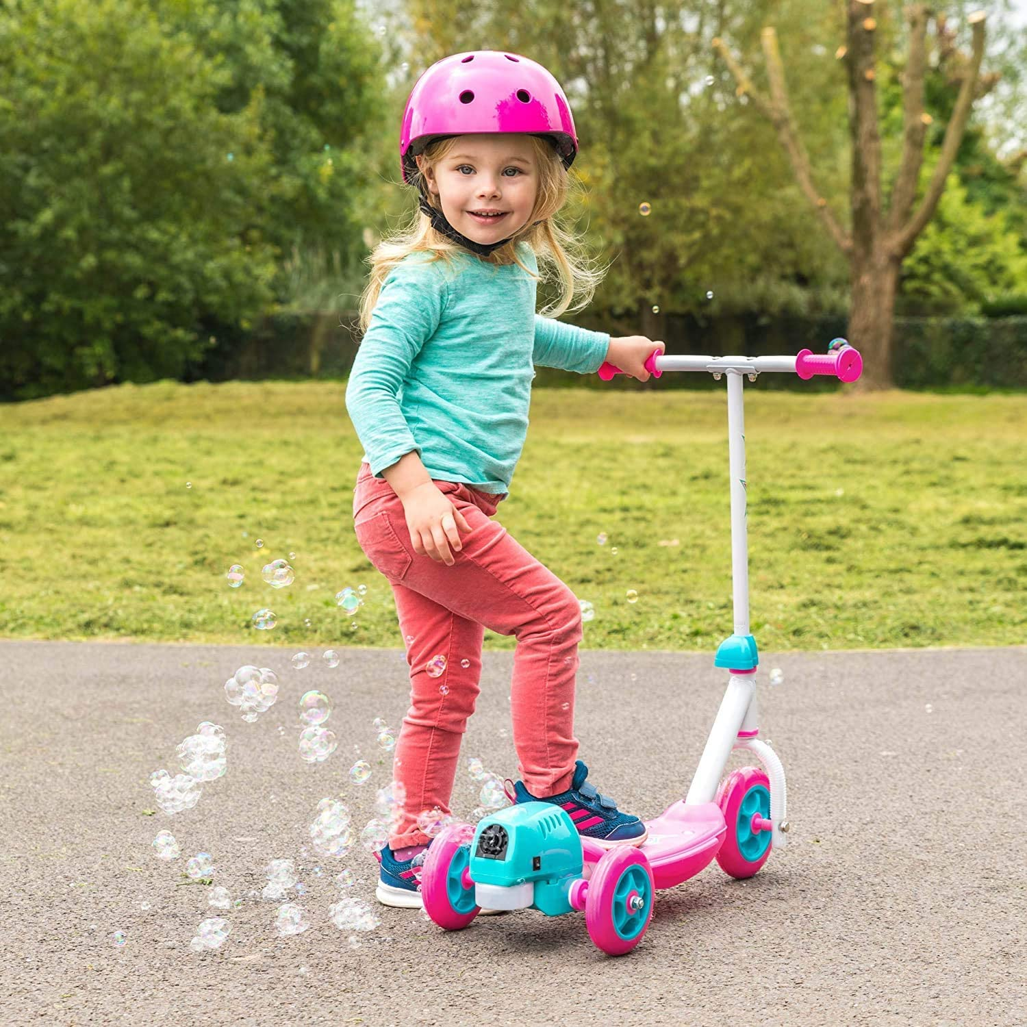 Unibos NEW Kid/'s Lightweight 3 Wheels Push Kick Ride Scooter with Bubble Blower Pink