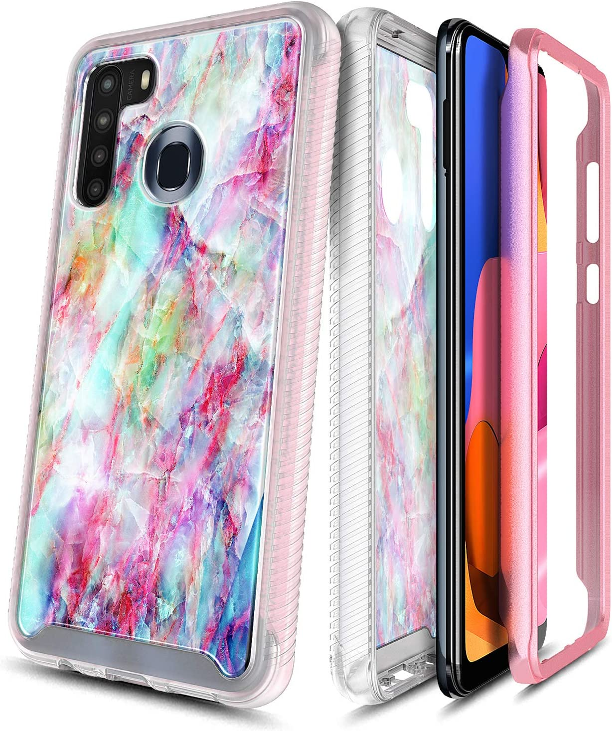 E-Began Case for Samsung Galaxy A21 (2020 Release U.S. Edition), Full-Body Protective Matte Bumper Cover with Built-in Screen Protector, Marble Design, Shockproof Rugged Durable Case -Fantasy