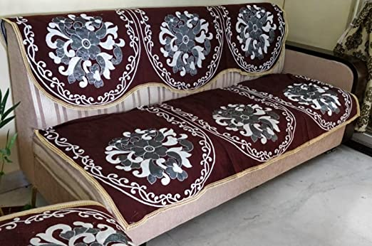 Griihams Premium 5 Seater Brown Floral Gold and Silver Thread Work Sofa Cover SB8- (3+1+1) 90% Cotton 10% Polyster