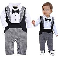 ZOEREA Baby Pojkar Klädes Set Julbröllop Kläddräkt Kostym Smokingjacka + Långärmad + Skjorta + Byxor + fluga Gentleman…